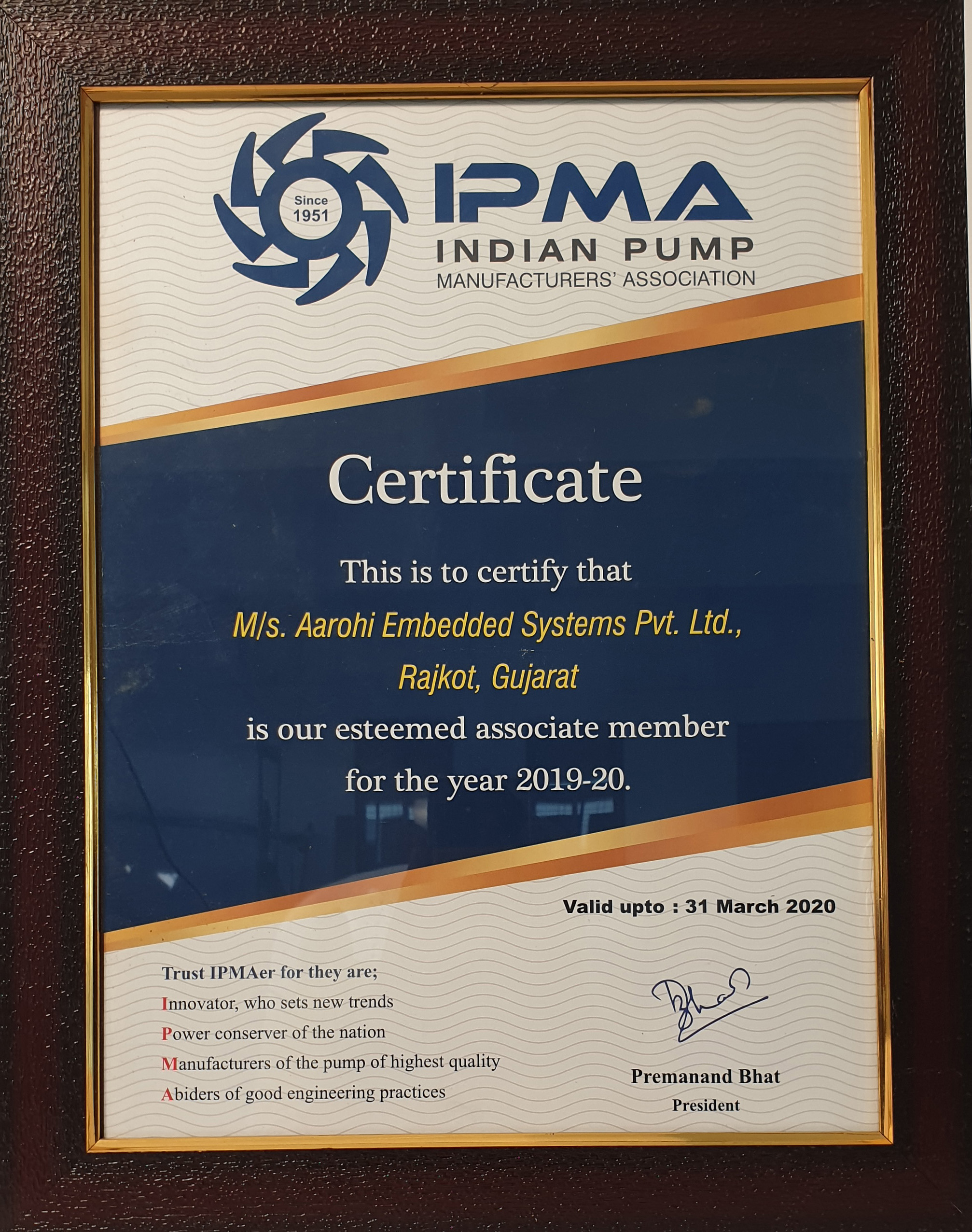 Indian pump manufacturing Association Certified Aarohi Embedded Systems Pvt Ltd