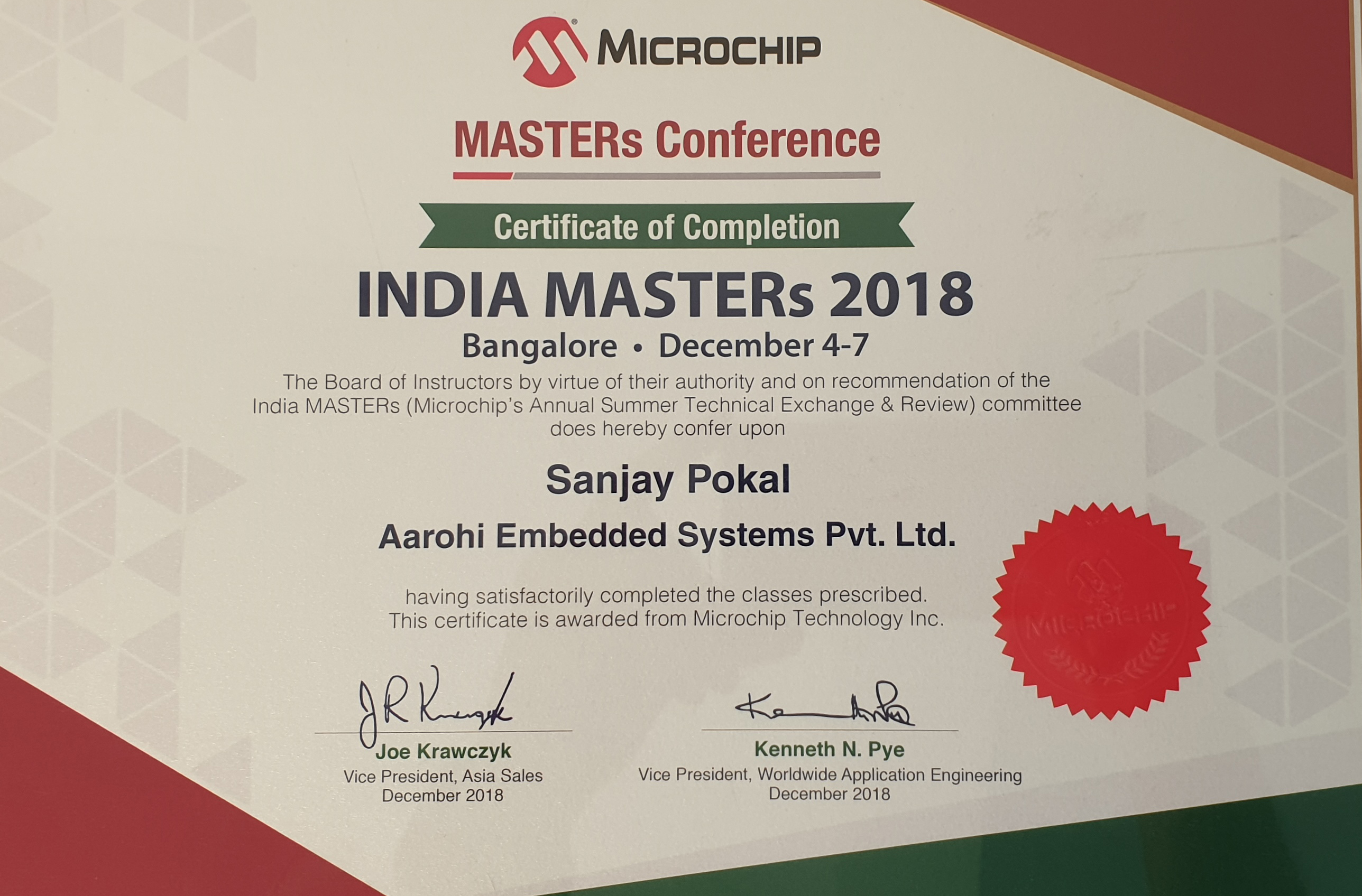 Aarohi Embedded Systems pvt ltd received Appreciation from Microchip India Masters conference