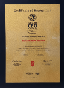 Our Director Mr. Paresh Babaria won India 500 CEO Awards 2019 for quality Excellence India s Biggest Business Awards