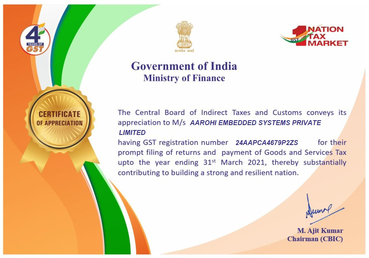 Aarohi Embedded Systems Pvt ltd received Appreciation form GST department of India